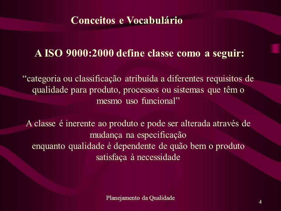 A ISO 9000:2000 define classe como a seguir: