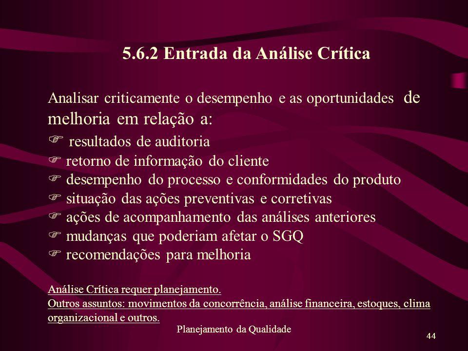 5.6.2 Entrada da Análise Crítica