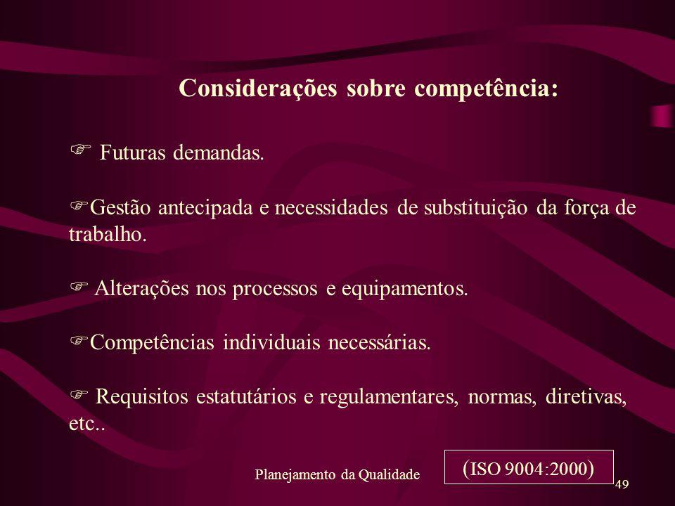Considerações sobre competência: