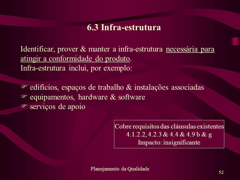 6.3 Infra-estrutura Identificar, prover & manter a infra-estrutura necessária para atingir a conformidade do produto.