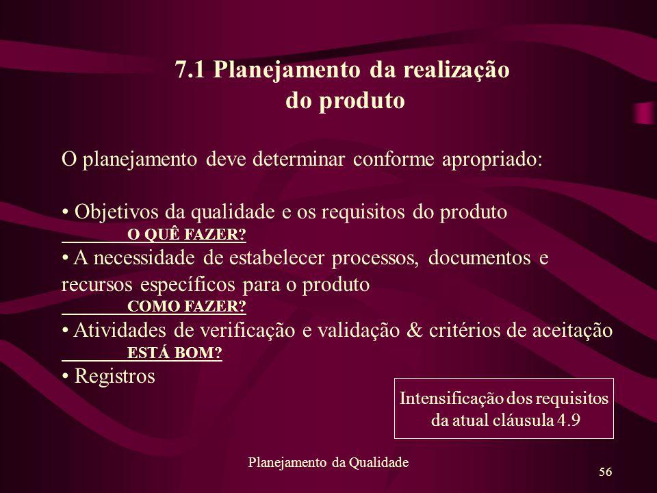 7.1 Planejamento da realização