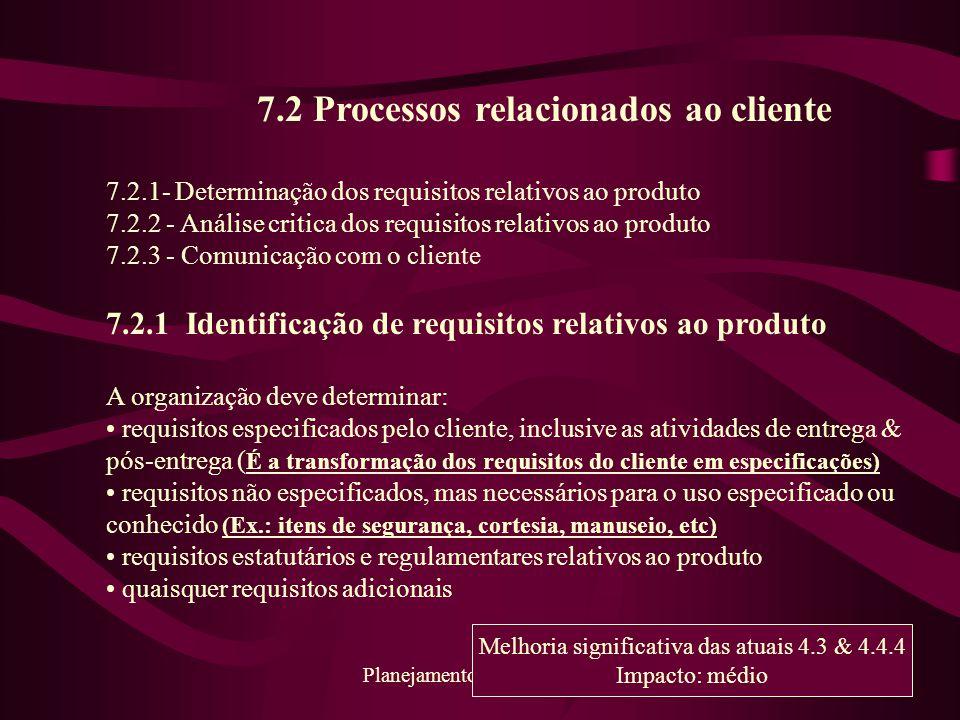 7.2 Processos relacionados ao cliente
