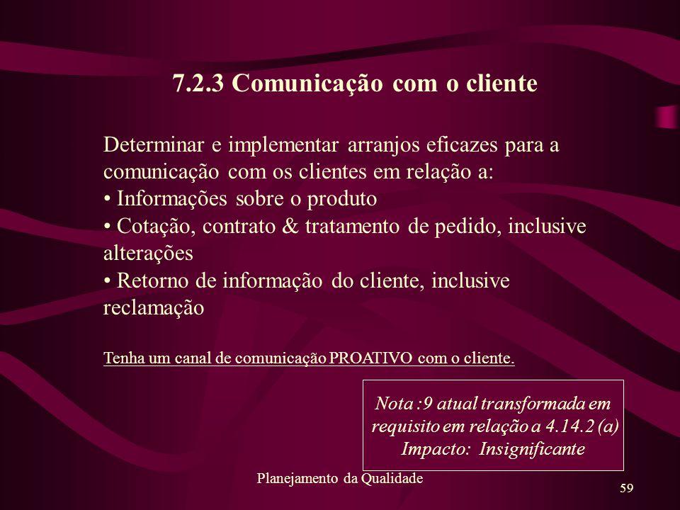 7.2.3 Comunicação com o cliente