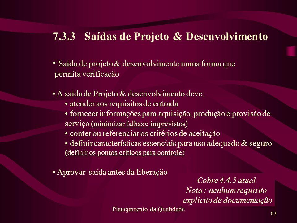 7.3.3 Saídas de Projeto & Desenvolvimento