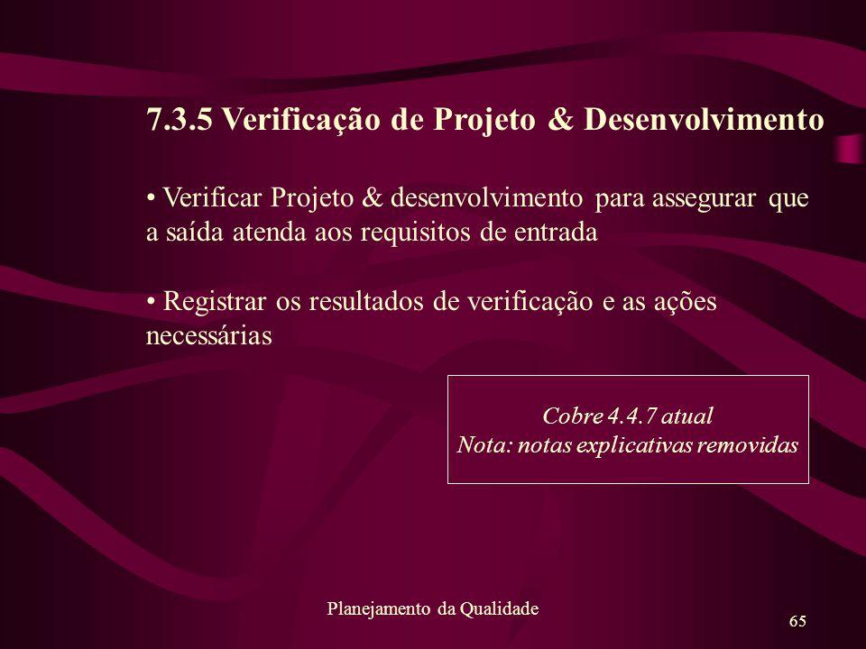 7.3.5 Verificação de Projeto & Desenvolvimento