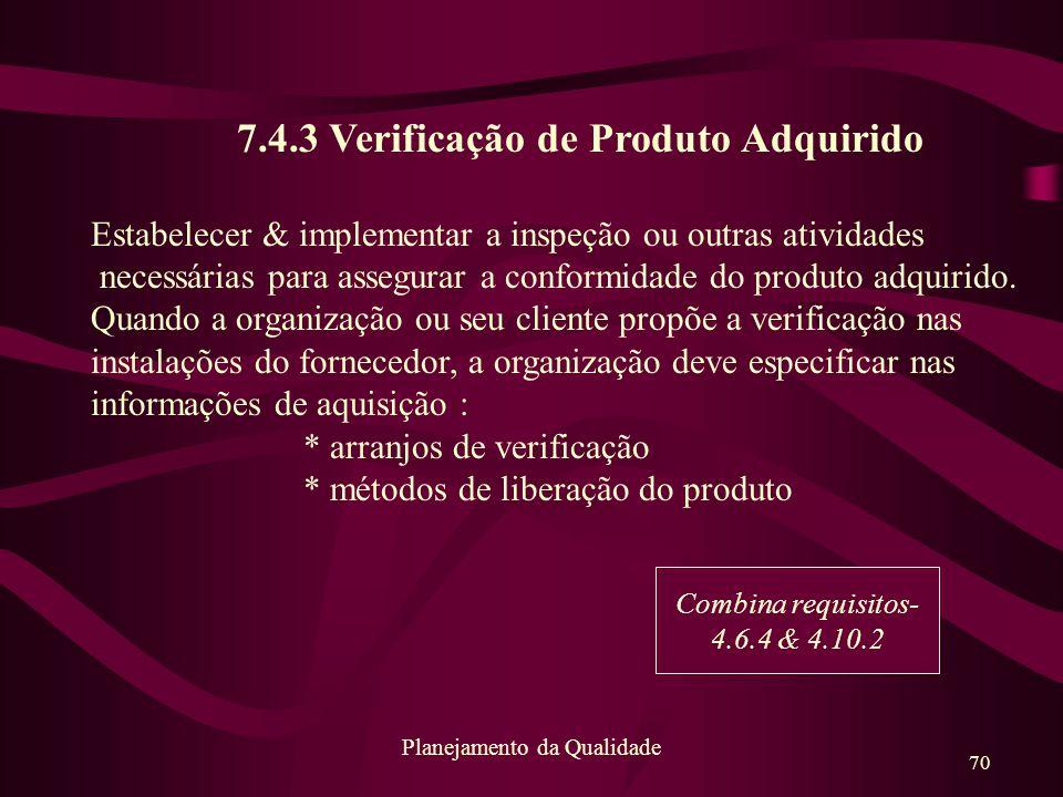 7.4.3 Verificação de Produto Adquirido