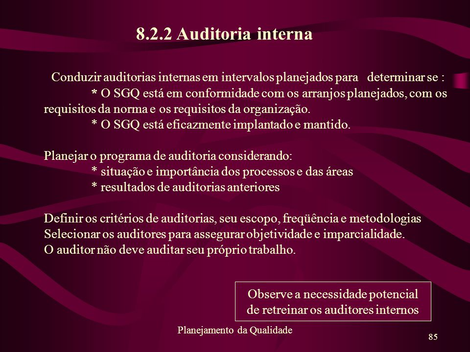 8.2.2 Auditoria interna Conduzir auditorias internas em intervalos planejados para determinar se :