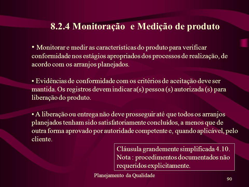 8.2.4 Monitoração e Medição de produto
