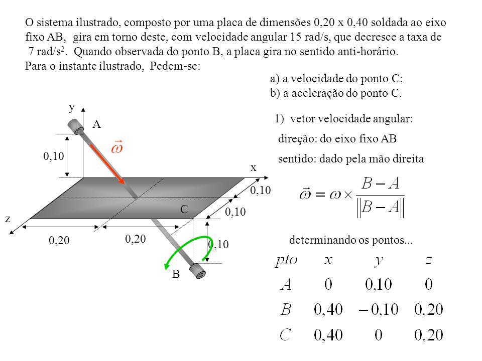 O sistema ilustrado, composto por uma placa de dimensões 0,20 x 0,40 soldada ao eixo