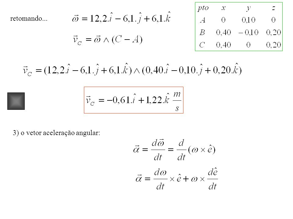 retomando... 3) o vetor aceleração angular: