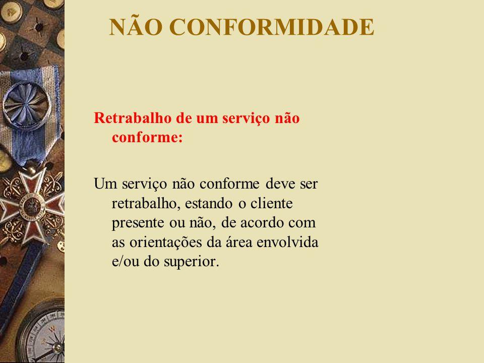 NÃO CONFORMIDADE Retrabalho de um serviço não conforme: