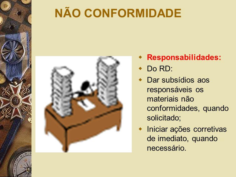 NÃO CONFORMIDADE Responsabilidades: Do RD: