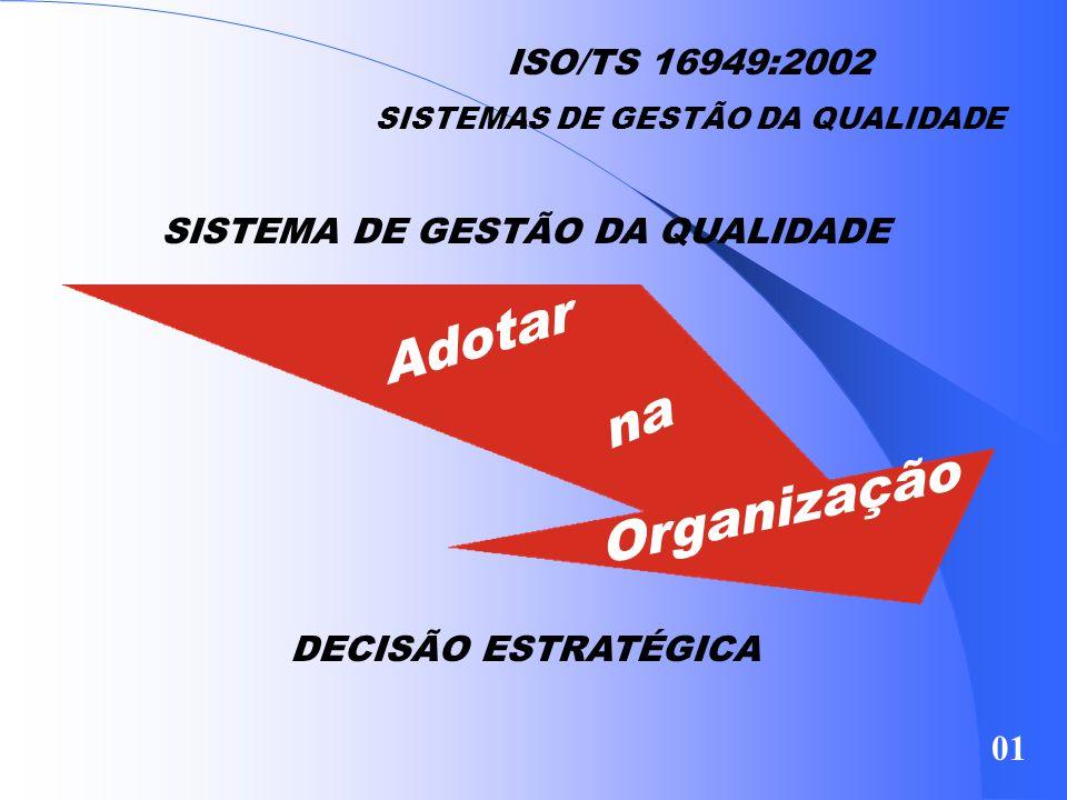 Adotar na Organização ISO/TS 16949:2002 SISTEMA DE GESTÃO DA QUALIDADE