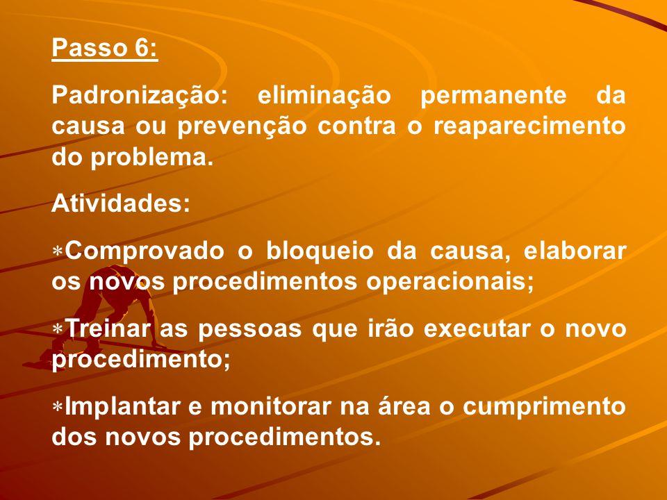 Passo 6: Padronização: eliminação permanente da causa ou prevenção contra o reaparecimento do problema.