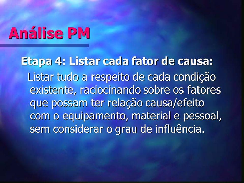 Análise PM Etapa 4: Listar cada fator de causa: