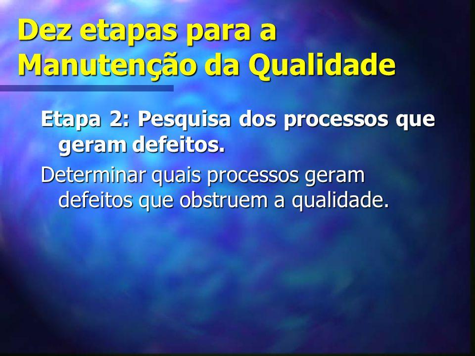 Dez etapas para a Manutenção da Qualidade