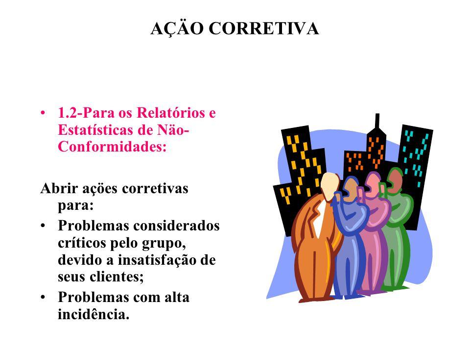 AÇÄO CORRETIVA 1.2-Para os Relatórios e Estatísticas de Näo-Conformidades: Abrir açöes corretivas para: