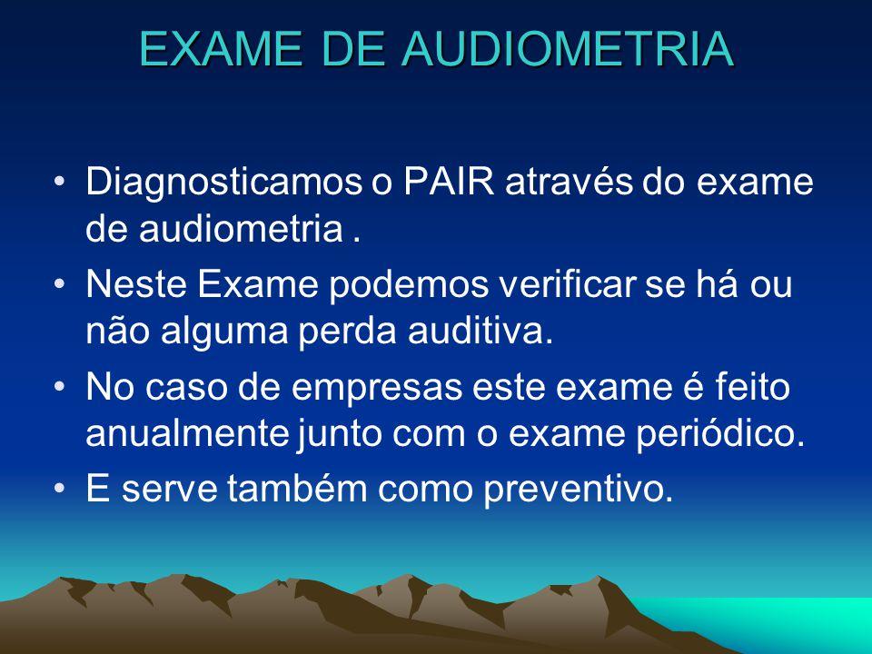 EXAME DE AUDIOMETRIA Diagnosticamos o PAIR através do exame de audiometria . Neste Exame podemos verificar se há ou não alguma perda auditiva.