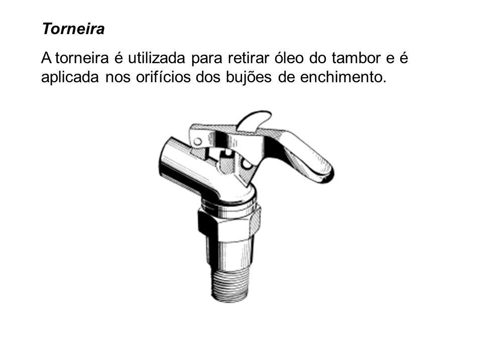 Torneira A torneira é utilizada para retirar óleo do tambor e é aplicada nos orifícios dos bujões de enchimento.