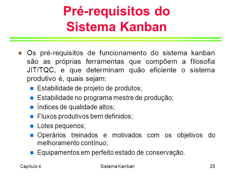 Pré-requisitos do Sistema Kanban