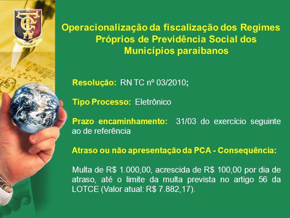 Operacionalização da fiscalização dos Regimes Próprios de Previdência Social dos Municípios paraibanos