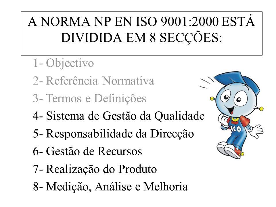 A NORMA NP EN ISO 9001:2000 ESTÁ DIVIDIDA EM 8 SECÇÕES: