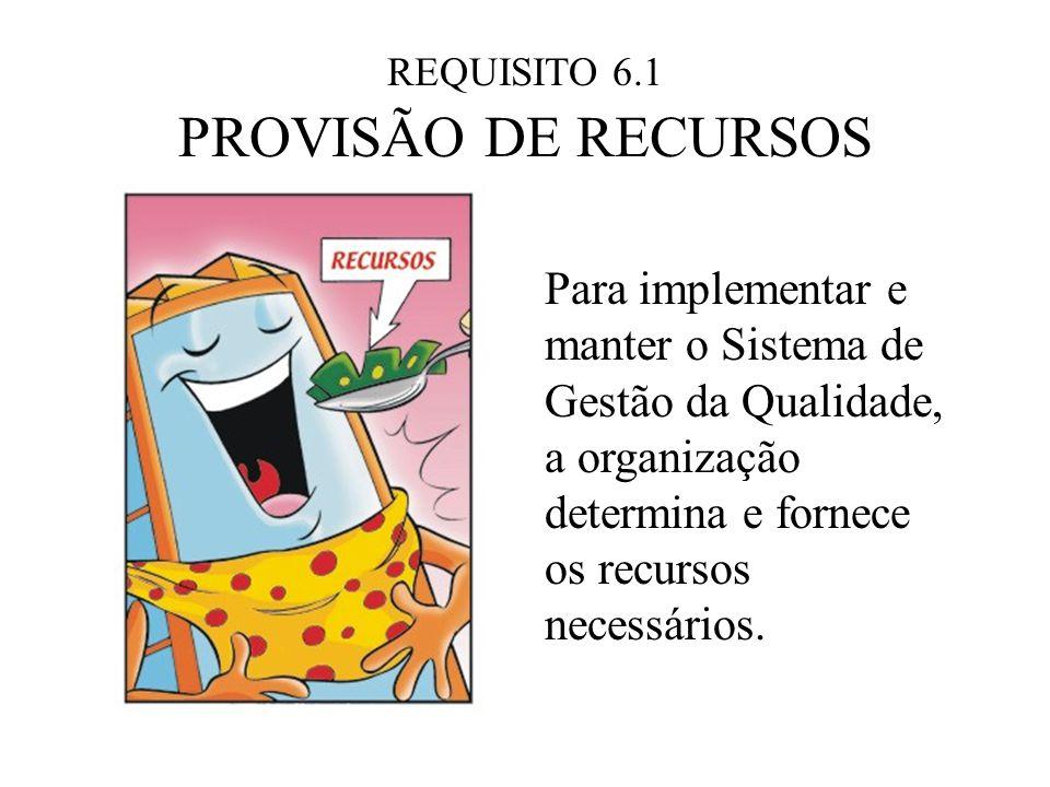 REQUISITO 6.1 PROVISÃO DE RECURSOS. Para implementar e manter o Sistema de Gestão da Qualidade, a organização determina e fornece.