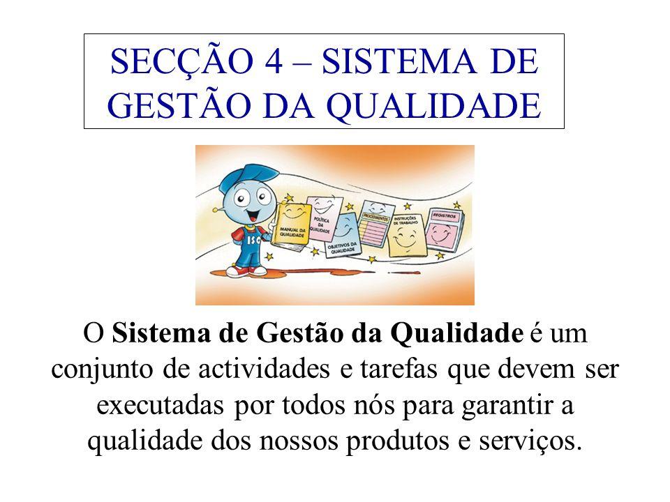 SECÇÃO 4 – SISTEMA DE GESTÃO DA QUALIDADE