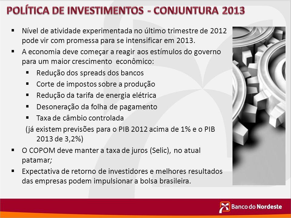 POLÍTICA DE INVESTIMENTOS - CONJUNTURA 2013