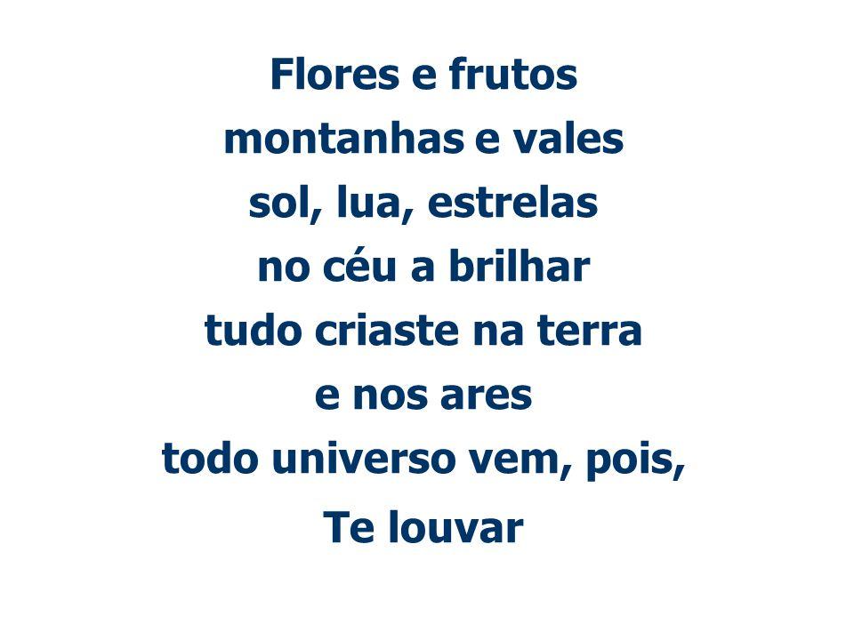 Flores e frutos montanhas e vales sol, lua, estrelas no céu a brilhar tudo criaste na terra e nos ares todo universo vem, pois, Te louvar