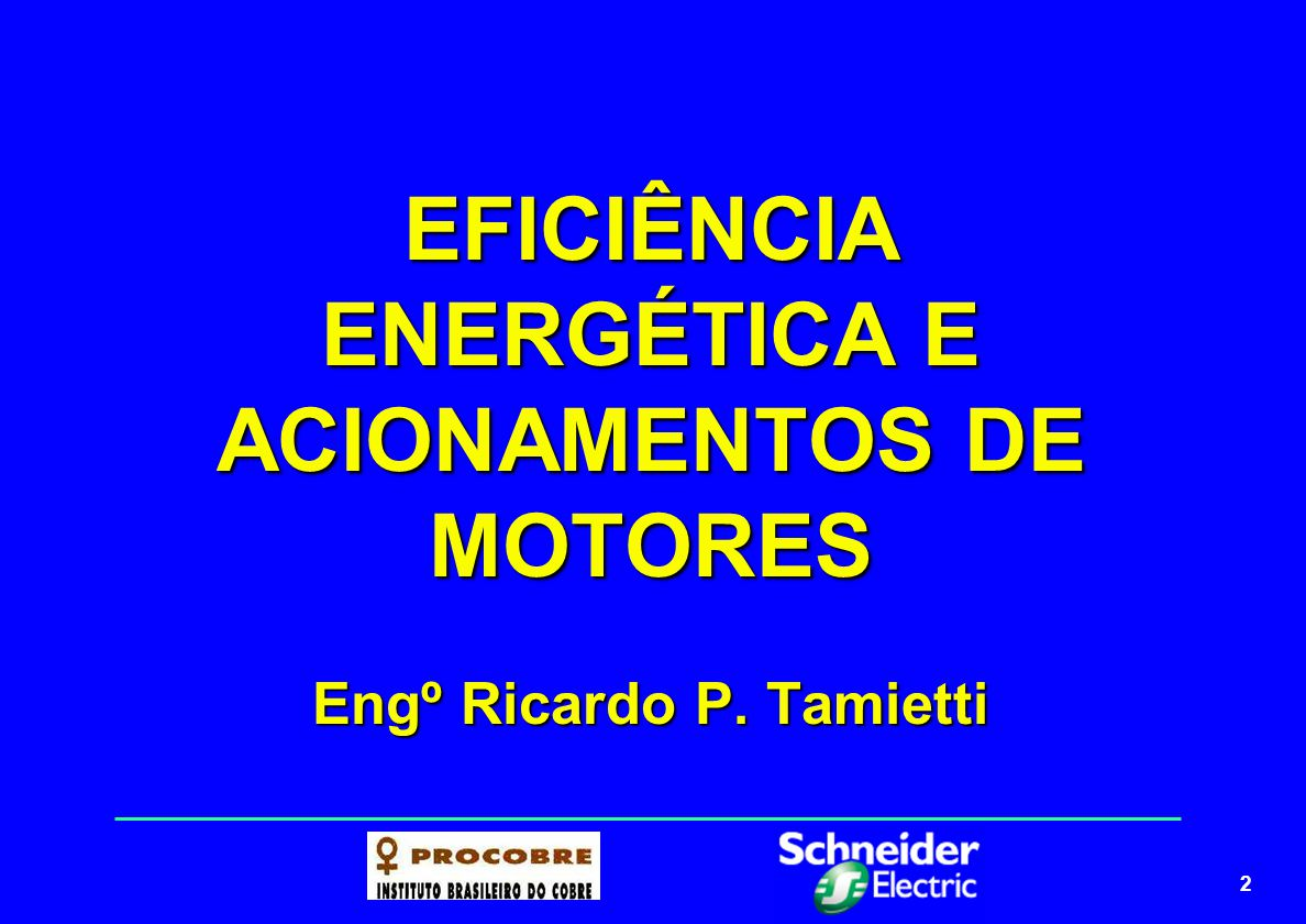 EFICIÊNCIA ENERGÉTICA E ACIONAMENTOS DE MOTORES Engº Ricardo P