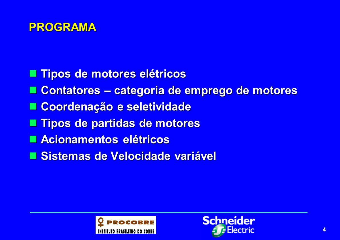 PROGRAMA Tipos de motores elétricos. Contatores – categoria de emprego de motores. Coordenação e seletividade.
