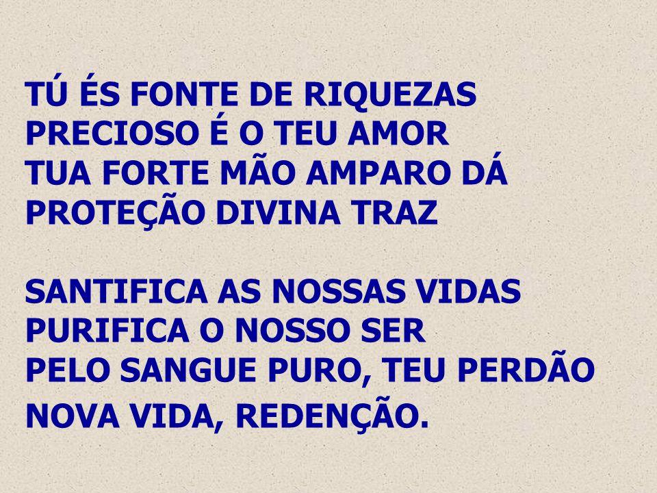 TÚ ÉS FONTE DE RIQUEZAS PRECIOSO É O TEU AMOR TUA FORTE MÃO AMPARO DÁ PROTEÇÃO DIVINA TRAZ SANTIFICA AS NOSSAS VIDAS PURIFICA O NOSSO SER PELO SANGUE PURO, TEU PERDÃO NOVA VIDA, REDENÇÃO.