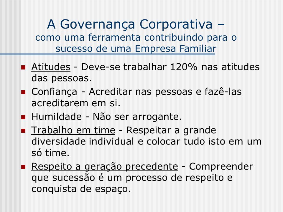 A Governança Corporativa –
