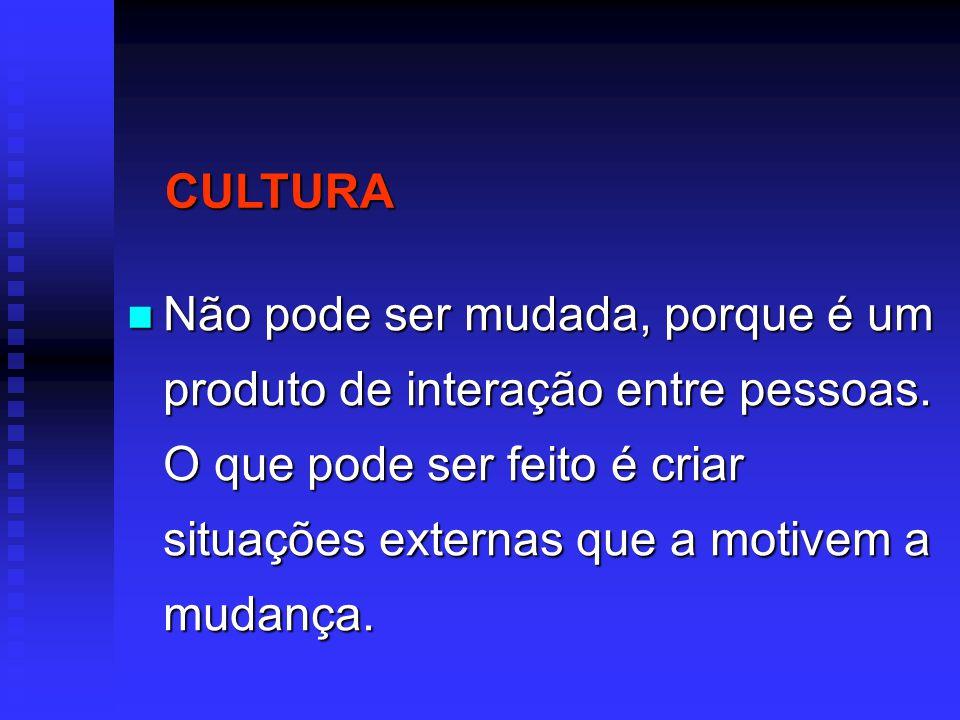 CULTURA Não pode ser mudada, porque é um produto de interação entre pessoas.