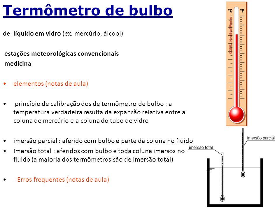 Termômetro de bulbo de líquido em vidro (ex. mercúrio, álcool)