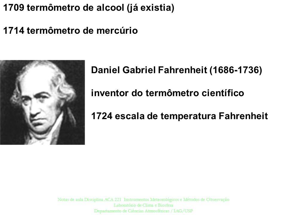 1709 termômetro de alcool (já existia) 1714 termômetro de mercúrio