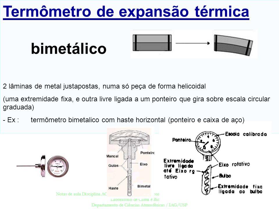 Termômetro de expansão térmica bimetálico