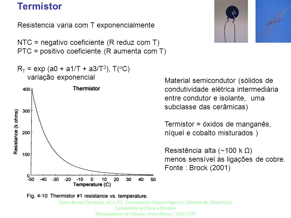 Termistor Resistencia varia com T exponencialmente