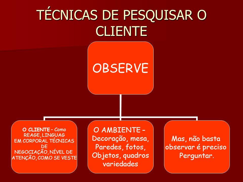 TÉCNICAS DE PESQUISAR O CLIENTE