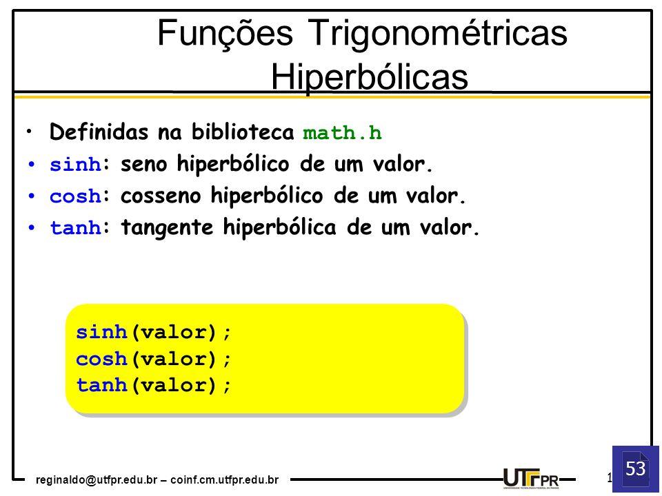 Funções Trigonométricas Hiperbólicas