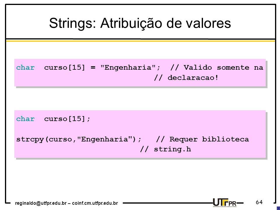 Strings: Atribuição de valores