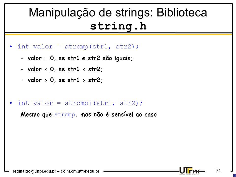 Manipulação de strings: Biblioteca string.h
