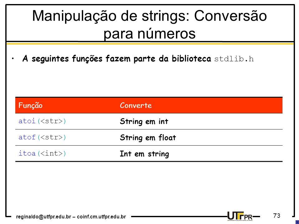 Manipulação de strings: Conversão para números