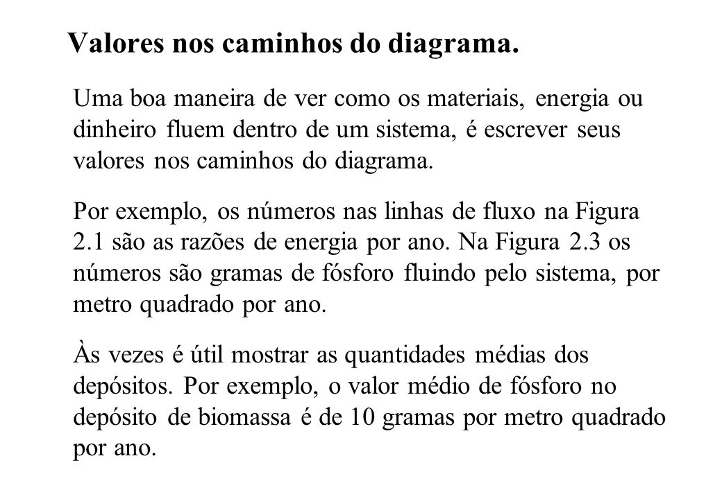 Valores nos caminhos do diagrama.