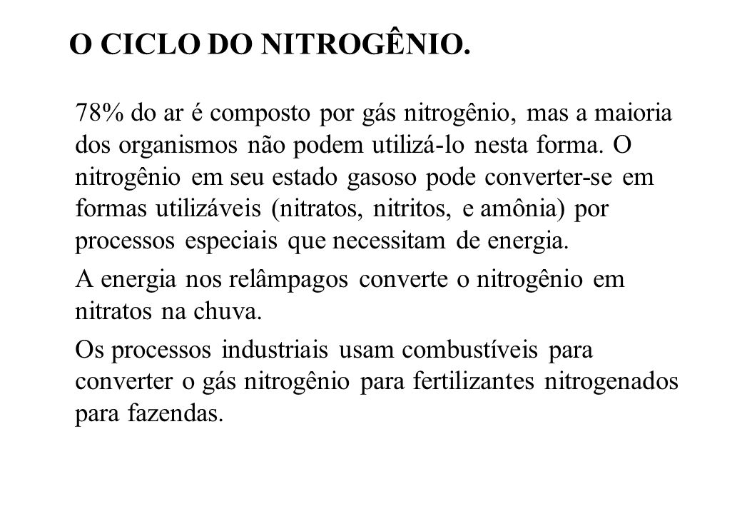 O CICLO DO NITROGÊNIO.