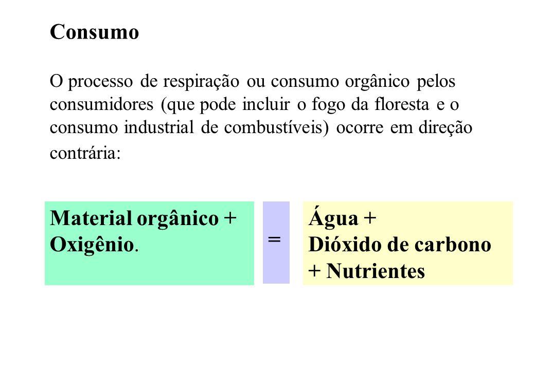 Material orgânico + Oxigênio. = Água + Dióxido de carbono + Nutrientes