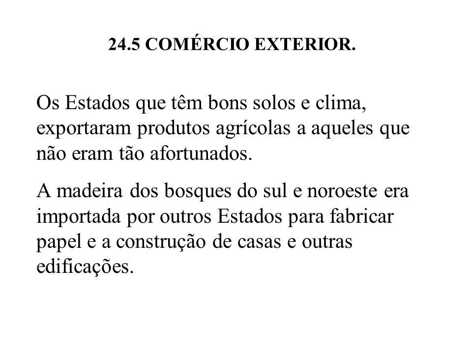 24.5 COMÉRCIO EXTERIOR. Os Estados que têm bons solos e clima, exportaram produtos agrícolas a aqueles que não eram tão afortunados.