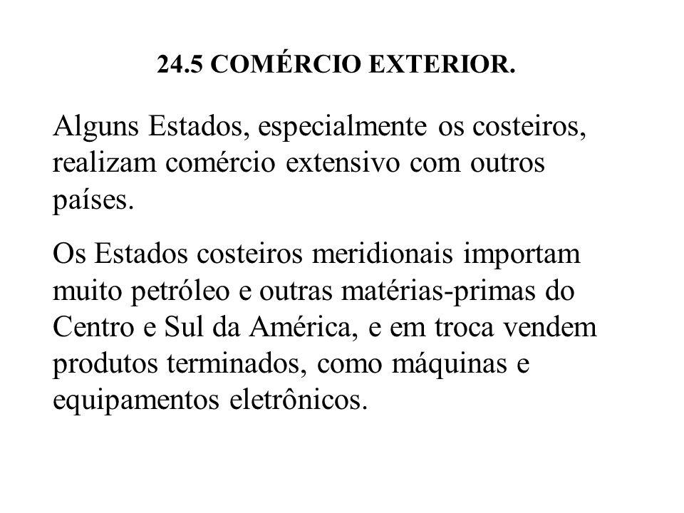 24.5 COMÉRCIO EXTERIOR. Alguns Estados, especialmente os costeiros, realizam comércio extensivo com outros países.