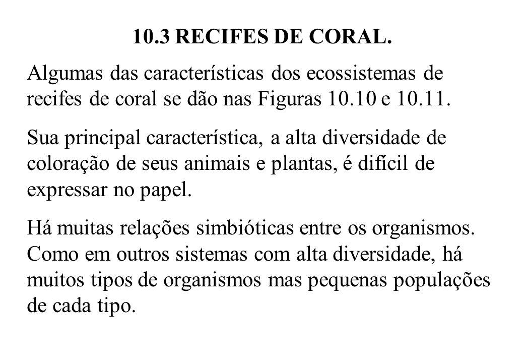 10.3 RECIFES DE CORAL. Algumas das características dos ecossistemas de recifes de coral se dão nas Figuras 10.10 e 10.11.
